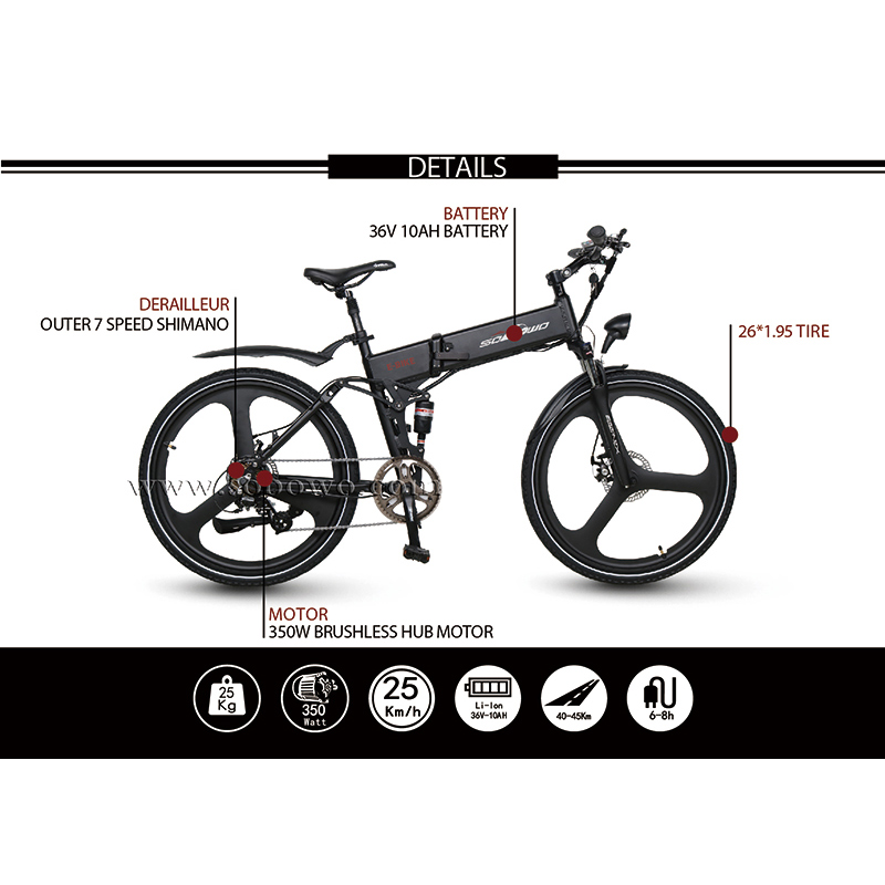 26'' Full Suspension Integrated Wheels Best Electric Mountain Bike